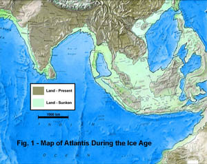 Fig. 1 - Map of Atlantis During the Ice Ages